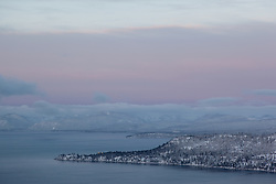 """Sunrise at Lake Tahoe 13"" - This soft pastel like sunrise above Lake Tahoe was photographed from the Mount Rose Highway (HWY 431) overlook."