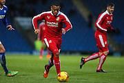 Swindon Town midfielder Louis Thompson heads for goal during the Sky Bet League 1 match between Chesterfield and Swindon Town at the Proact stadium, Chesterfield, England on 28 November 2015. Photo by Aaron Lupton.