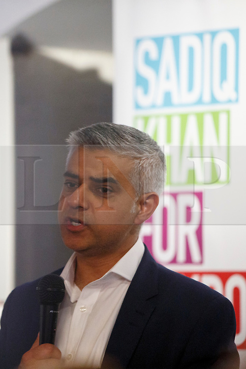 © Licensed to London News Pictures. 07/05/2016. London, UK. SADIQ KHAN addressing his supporters and campaign staff at the 'Brigade Bar & Bistro' near City Hall after winning the Mayoral Election in London on Saturday, 7 May 2016. Labour MP Sadiq Khan has declared his victory and accused his Conservative counterpart, Zac Goldsmith MP of using underhand tactics during the campaign. Photo credit: Tolga Akmen/LNP