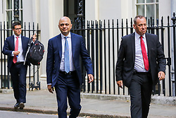 © Licensed to London News Pictures. 03/009/2019. London, UK. Chancellor of The Exchequer SAJID JAVID (C) leaves No 11 Downing Street. MPs return to Westminster for a no deal  showdown that could result in a snap election. Photo credit: Dinendra Haria/LNP