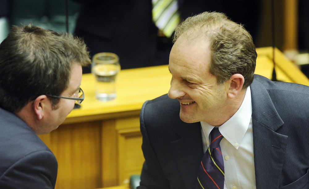Labour leader David Shearer, right is congratulated by his deputy Grant Robertson after his first debate of the 50th Parliament, Wellington, New Zealand, Wednesday, December 21, 2011. Credit:SNPA / Ross Setford