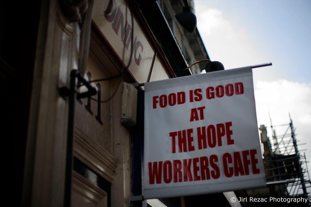 UK ENGLAND LONDON 1MAY12 - Workers Cafe sign in Islington, North London....jre/Photo by Jiri Rezac....© Jiri Rezac 2012