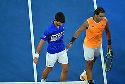January 27, 2019 - Melbourne, AUSTRALIA - Novak Djokovic (Ser) wins his fifth Australian open against Rafael Nadal  (Credit Image: © Panoramic via ZUMA Press)