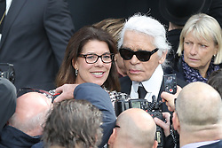 Princess Caroline of Hanover and Karl Lagerfeld attending the Chanel's Fall-Winter 2013-2014 Ready-To-Wear collection show held at the Grand Palais in Paris, France, on March 5, 2013. Photo by Frederic Nebinger/ABACAPRESS.COM