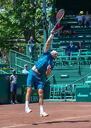 April 11, 2018 - Houston, TX, U.S. - HOUSTON, TX - APRIL 11:  Tennys Sandgren of the United States watches his serve during the second round of the Men's Clay Court Championships on April 11, 2018 at River Oaks Country Club in Houston, Texas.  (Photo by Leslie Plaza Johnson/Icon Sportswire) (Credit Image: © Leslie Plaza Johnson/Icon SMI via ZUMA Press)