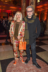 David Downton and Virginia Bates at the Mary Quant VIP Preview at The Victoria & Albert Museum, London, England. 03 April 2019. <br /> <br /> ***For fees please contact us prior to publication***