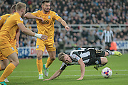Matt Ritchie (Newcastle United) is brought down by Bailey Wright (Preston North End) for a penalty to Newcastle during the EFL Cup 4th round match between Newcastle United and Preston North End at St. James's Park, Newcastle, England on 25 October 2016. Photo by Mark P Doherty.