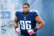 NASHVILLE, TN - OCTOBER 25:  Al Woods #96 of the Tennessee Titans jogs onto the field before a game against the Atlanta Falcons at Nissan Stadium on October 25, 2015 in Nashville, Tennessee.  The Falcons defeated the Titans 10-7.  (Photo by Wesley Hitt/Getty Images) *** Local Caption *** Al Woods
