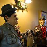 Statues of Laurel and Hardy inside a lounge inside the historic Carrington Hotel in Katoomba in the Blue Mountains of New South Wales, Australia. The Carrington is an historic hotel established in 1880.
