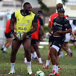 DURBAN, SOUTH AFRICA, Friday 15, January 2016 - Tendai Beast Mtawarira with Garth April during The Cell C Sharks Pre Season training Friday 145h January 2016,for the 2016 Super Rugby Season at Growthpoint Kings Park in Durban, South Africa. (Photo by Steve Haag)<br /> images for social media must have consent from Steve Haag