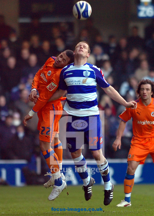 London - Saturday January 31st, 2009: Heidar Helguson of QPR in action against Liam Rosenior of Reading during the Coca Cola Championship match at Loftus Road, London. (Pic by Focus Images)