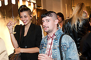 CLEMENTINE VALLET; CHARLIE LEMANDU, Vogue: Fashion's Night Out: Armani. Bond st.  London. 8 September 2010.  -DO NOT ARCHIVE-© Copyright Photograph by Dafydd Jones. 248 Clapham Rd. London SW9 0PZ. Tel 0207 820 0771. www.dafjones.com.