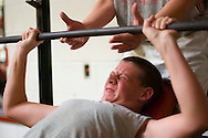 11/7/07 Smith Center, KS.Zach Herdt in the weight room at Smith Center High School....(Chris Machian/Prairie Pixel Group)