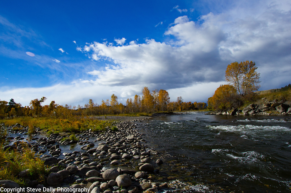 Stillwater River at Swinging Bridge in Fall.