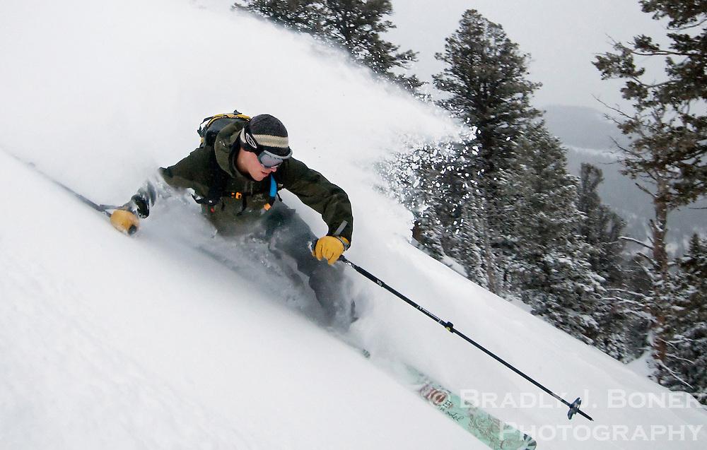 Adam Meyer skiing Mount Glory, Teton Pass backcountry, Wyoming.