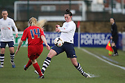 Blacburn Defender Kelsey Pearson challenges during the FA Women's Lancashire Cup Final match between Preston North End Ladies and Blackburn Rovers Women at the County Ground, Leyland, United Kingdom on 28 April 2016. Photo by Pete Burns.