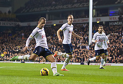 LONDON, ENGLAND - Sunday, November 30, 2014: Tottenham Hotspur's Roberto Soldado scores the second goal against Everton during the Premier League match at White Hart Lane. (Pic by David Rawcliffe/Propaganda)
