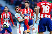 Atletico Madrid's Spanish midfielder Saul Niguez kicks the ball during the Spanish championship Liga football match between Atletico de Madrid and RC Celta on March 11, 2018 at the Wanda Metropolitano stadium in Madrid, Spain - Photo Benjamin Cremel / ProSportsImages / DPPI