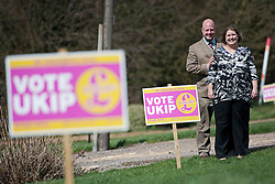 © London News Pictures. FILE PIC DATED 18/04/2013. UKIP Councillor LISA DUFFY pictured with her husband, UKIP Local Government spokesman, Peter Reeve in the town centre of Ramsey in Cambridgeshire. Lisa Duffy is to run for leadership of UKIP.. Photo credit: Ben Cawthra/LNP