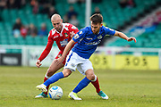 Wrexham AFC Midfielder, Russell Penn (16) and Eastleigh Midfielder, Ben Close (8) during the Vanarama National League match between Eastleigh and Wrexham FC at Arena Stadium, Eastleigh, United Kingdom on 29 April 2017. Photo by Adam Rivers.