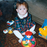A collect photo of burns victim Alicia Gibson from Aylth, Perthshire..  In this photo Alicia is pictured on her 1st birthday before her accident<br /> Picture by Graeme Hart.<br /> Copyright Perthshire Picture Agency<br /> Tel: 01738 623350  Mobile: 07990 594431
