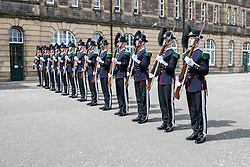The 1,200 performers that will take part in the 2016 Royal Edinburgh Military Tattoo come together for the first time to rehearse.<br /> <br /> Pictured: His Majesty The King's Guard from Norway