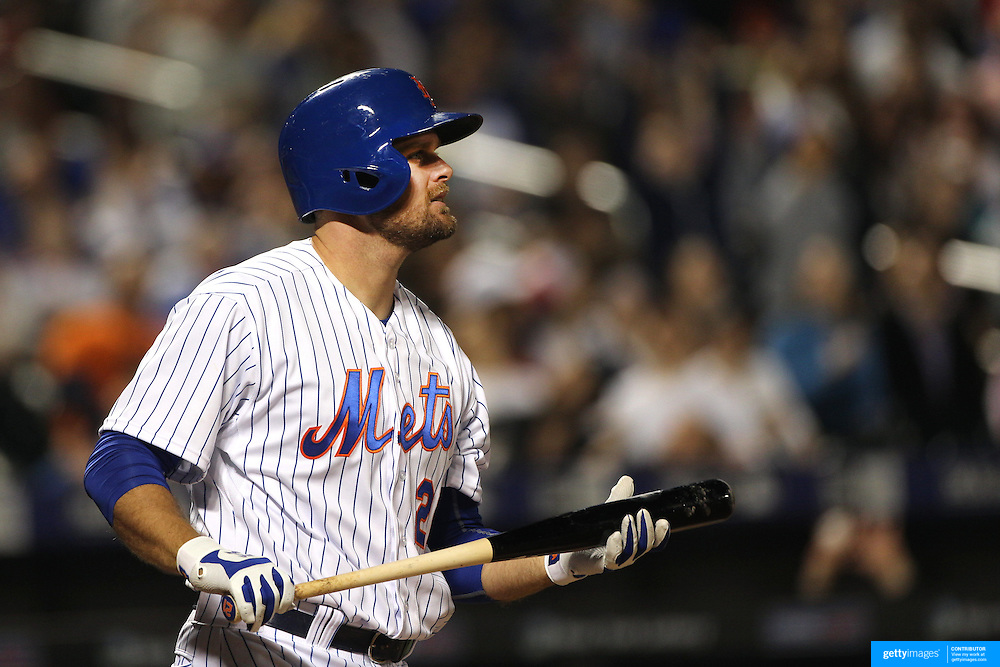 Lucas Duda, New York Mets, batting during the New York Mets Vs Miami Marlins MLB regular season baseball game at Citi Field, Queens, New York. USA. 18th April 2015. Photo Tim Clayton