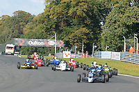 #0 Chase Owen Ray GR14/15 leads the filed at the start of the second race during the Avon Tyres FF1600 Northern Championship - Post 89 at Oulton Park, Little Budworth, Cheshire, United Kingdom. October 08 2016. World Copyright Peter Taylor/PSP.