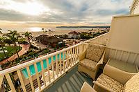 View from balcony, Hotel del Coronado (a beachfront luxury hotel), Coronado Island (San Diego), California USA.