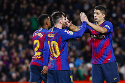 January 30, 2019 - Barcelona, Spain - FC Barcelona forward Lionel Messi (10) celebrates scoring the goal with FC Barcelona forward Luis Suarez (9) during the match FC Barcelona v Sevilla CF, for the round of 8, second leg of the Copa del Rey played at Camp Nou  on 30th January 2019 in Barcelona, Spain. (Credit Image: © Mikel Trigueros/NurPhoto via ZUMA Press)