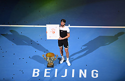 BEIJING, Oct. 7, 2018  Nikoloz Basilashvili of Georgia poses during the awarding ceremony of the men's singles event at the China Open tennis tournament in Beijing, capital of China on Oct. 7, 2018. Basilashvili won 2-0 and claimed the title. (Credit Image: © Xinhua via ZUMA Wire)