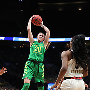March 31, 2019; Portland, OR, USA; Oregon Ducks guard Sabrina Ionescu (20) grabs a rebound over Mississippi State Bulldogs in the second half of Elite Eight of the NCAA Women's Tournament at Moda Center.<br /> Photo by Jaime Valdez