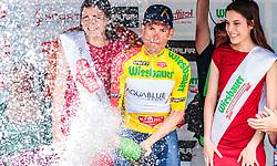 06.07.2017, Kitzbühel, AUT, Ö-Tour, Österreich Radrundfahrt 2017, 4. Etappe von Salzburg auf das Kitzbüheler Horn (82,7 km/BAK), Siegerehrung, im Bild Träger des gelben Trikots Stefan Denifl (AUT, Aqua Blue Sport) // Yellow Jersey of the Overall Leader Stefan Denifl of Austria (Aqua Blue Sport) on podium during the 4th stage from Salzburg to the Kitzbueheler Horn (82,7 km/BAK) of 2017 Tour of Austria. Kitzbühel, Austria on 2017/07/06. EXPA Pictures © 2017, PhotoCredit: EXPA/ JFK