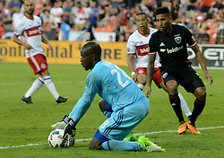 August 5, 2017 - Washington, DC, USA - 20170805 - D.C. United goalkeeper BILL HAMID (28) makes a save against Toronto FC, as D.C. United defender SEAN FRANKLIN (5) looks on, in the second half at RFK Stadium in Washington. (Credit Image: © Chuck Myers via ZUMA Wire)