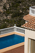 Terrace and swimming pool of holiday house, Costa Blanca, Moraira village,Alicante province, Spain, Europe