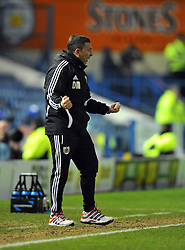 Bristol City Manager, Derek McInnes celebrates Bristol City's Albert Adomah last minute winning goal - Photo mandatory by-line: Joe Meredith/JMP  - Tel: Mobile:07966 386802 08/12/2012 - Sheffield Wednesday v Bristol city - SPORT - FOOTBALL - Championship -  Sheffield - Hillsborough -
