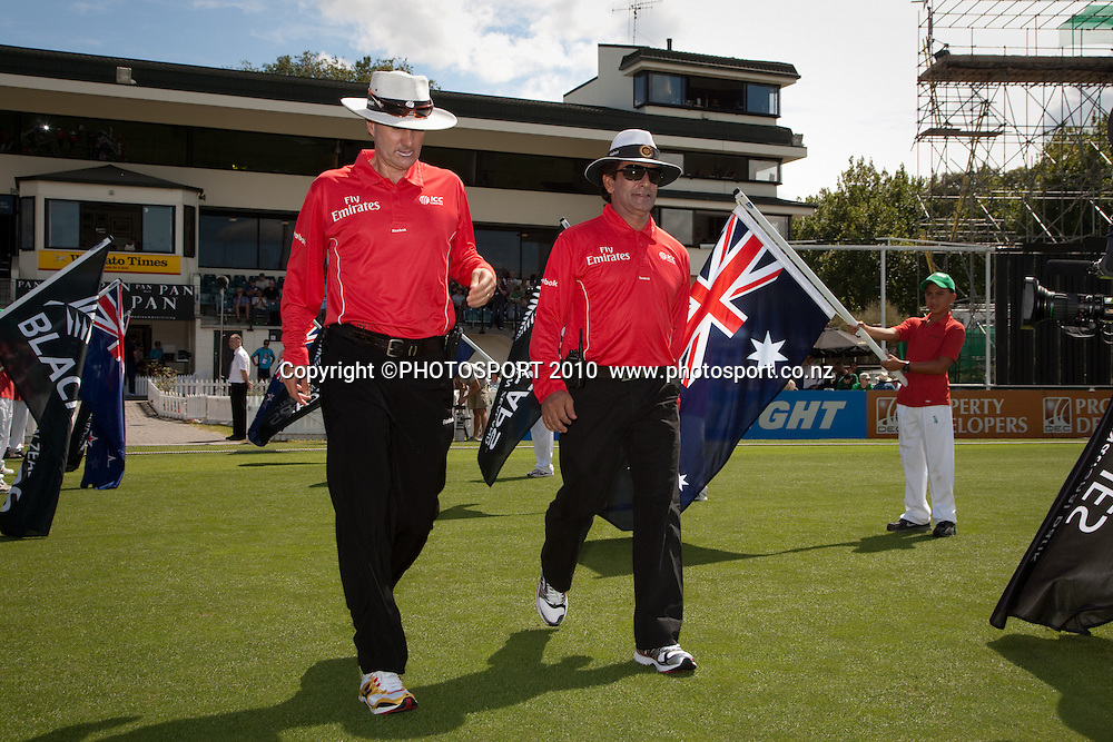 Umpires BF Bowden and Asad Rauf enter the field for the start of play at the third one day Chappell Hadlee cricket series match between New Zealand Black Caps and Australia at Seddon Park, won by Australia by 6 wickets in Hamilton, New Zealand. Tuesday 9 March 2010. Photo: Stephen Barker/PHOTOSPORT