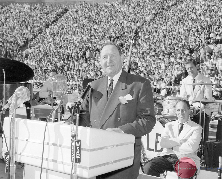 New Studebaker-Packard President James Nance at the Studebaker-Packard merger rally at Notre Dame Stadium, October 1954.