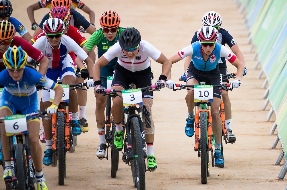 Catharine Pendrel wins the Bronze medal in the Mountain Bike competition at the Rio Olympics on August 20, 2016.