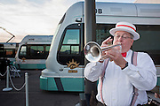 27 DECEMBER 2008 -- PHOENIX, AZ: Terry McFee (CQ) a member of the Dixieland Dazzlers, plays his trumpet at the opening of light rail. Metro Light Rail started running Saturday, Dec. 28.  The light rail line is 20 miles long and cost $1.4 billion dollars. PHOTO BY JACK KURTZ
