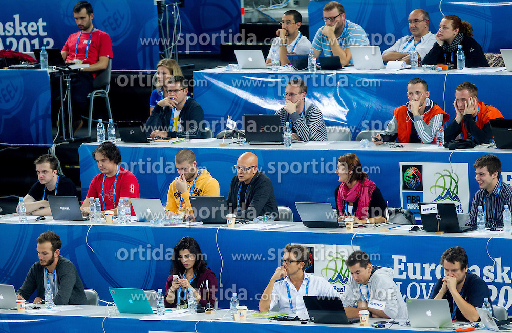 Journalists during basketball match between National teams of Serbia and France in Round 2 at Day 12 of Eurobasket 2013 on September 15, 2013 in Arena Stozice, Ljubljana, Slovenia. (Photo by Vid Ponikvar / Sportida.com)