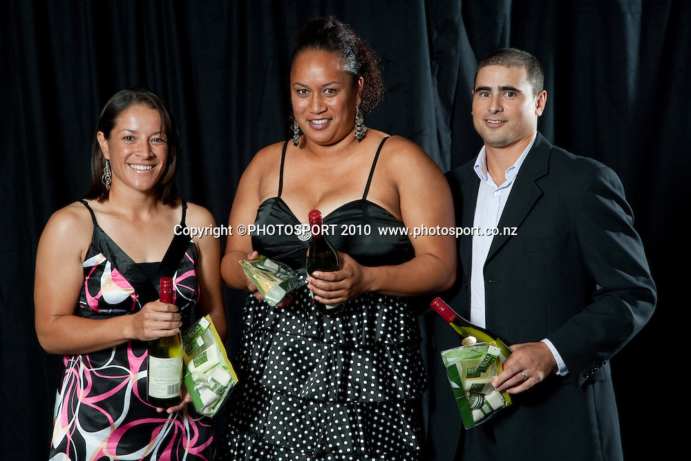 White Sox players Sina Hunkin, Michal Tangaroa, and assistant coach Roman Gabriel at the Softball - Auckland Fastpitch Championship Awards Evening, 2009-2010 at Alexandra Park, Auckland, Saturday 6 March 2010. Photo: Stephen Barker/PHOTOSPORT