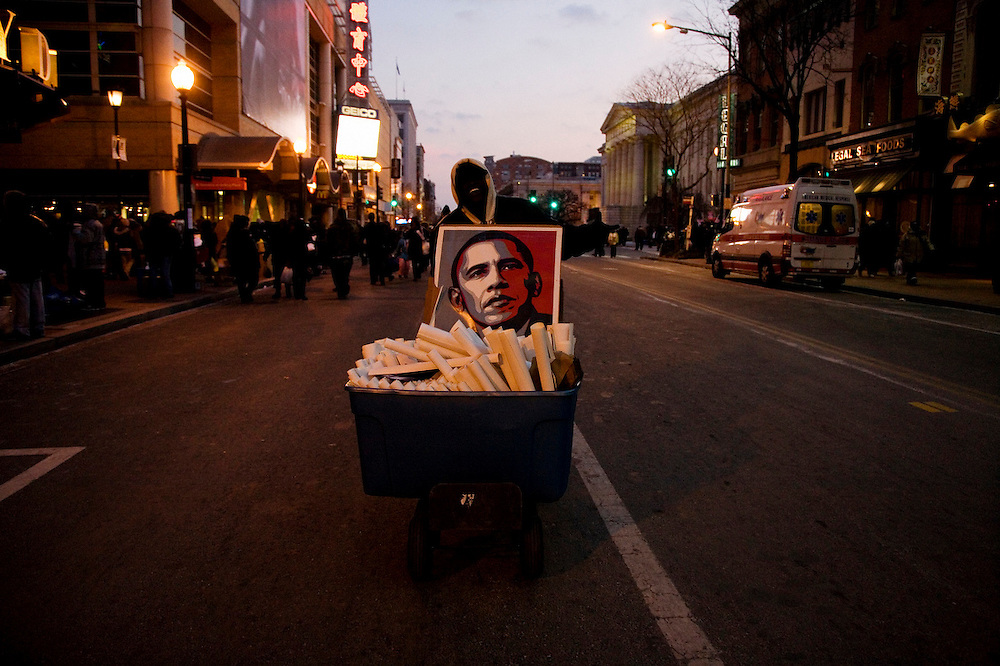 The Inauguration of President Barack Obama. Washington DC, January 20, 2009. Man selling Obama posters for $10 after the inauguration ceremonies, down from $20 before the event.
