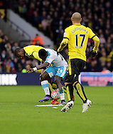 Watord's Obbi Oulare  and Cheick Tiote during the The FA Cup Third Round match between Watford and Newcastle United at Vicarage Road, Watford, England on 9 January 2016. Photo by Dave Peters.