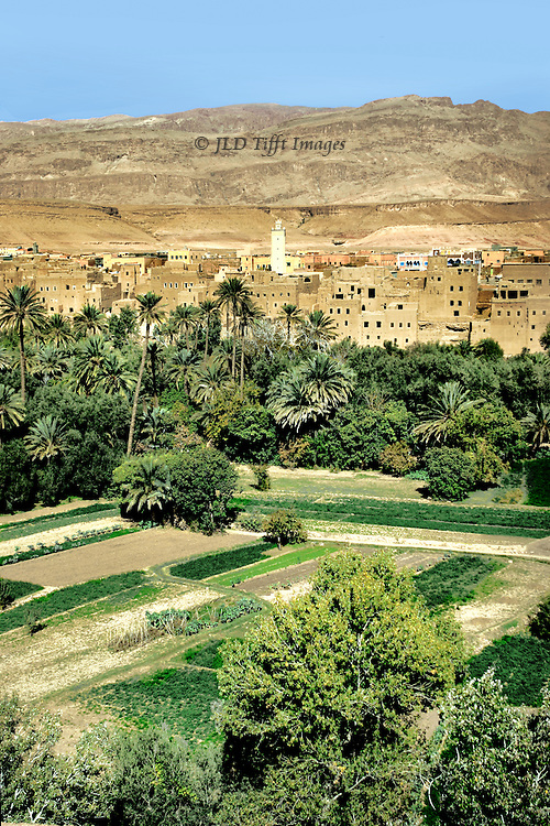 General landscape view showing, in the foreground, agricultural land of planted fields, orchards, palm trees; in the middle distance, a mud brick village, with mosque minaret; in the distance, bare hills rising toward the Atlas Mountains.