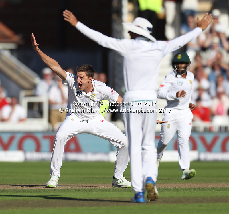 Bowler Morne Morkel appeals as Alastair Cook is given out, lbw (but turned down after a DRS review), during the 2nd Investec Test Match between England and South Africa at Trent Bridge, Nottingham. Photo: Graham Morris/www.cricketpix.com / www.photosport.nz