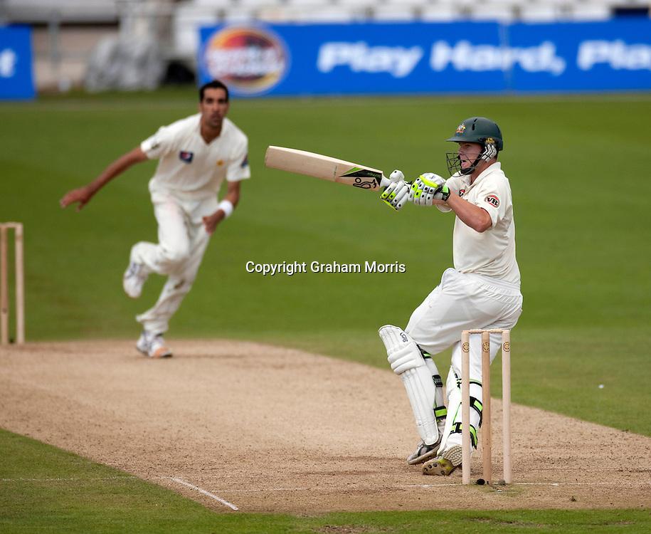 Steve Smith off Umar Gul during the second MCC Spirit of Cricket Test Match between Pakistan and Australia at Headingley, Leeds.  Photo: Graham Morris (Tel: +44(0)20 8969 4192 Email: sales@cricketpix.com) 23/07/10