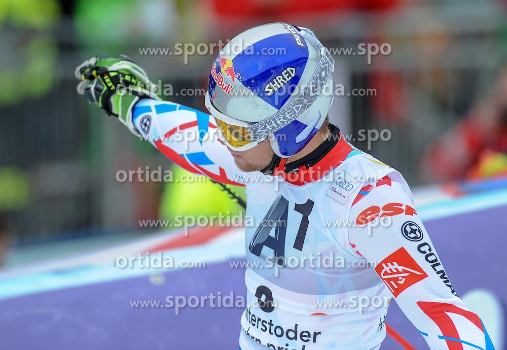 28.02.2016, Hannes Trinkl Rennstrecke, Hinterstoder, AUT, FIS Weltcup Ski Alpin, Hinterstoder, Riesenslalom, Herren, 2. Lauf, im Bild Alexis Pinturault (FRA) Sieger // Alexis Pinturault of France (winner) reacts after his 2nd run of men's Giant Slalom of Hinterstoder FIS Ski Alpine World Cup at the Hannes Trinkl Rennstrecke in Hinterstoder, Austria on 2016/02/28. EXPA Pictures © 2016, PhotoCredit: EXPA/ Erich Spiess