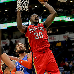 Dec 12, 2018; New Orleans, LA, USA; New Orleans Pelicans forward Julius Randle (30) shoots over Oklahoma City Thunder center Steven Adams (12) during the second half at the Smoothie King Center. Mandatory Credit: Derick E. Hingle-USA TODAY Sports