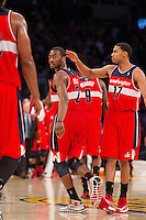 22 March 2013: Guard (2) John Wall of the Washington Wizards celebrates with teammates against the Los Angeles Lakers during the second half of the Wizards 103-100 victory over the Lakers at the STAPLES Center in Los Angeles, CA.